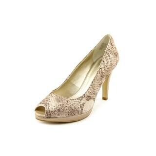 Anne Klein Dynah Open Toe Leather Platform Heel