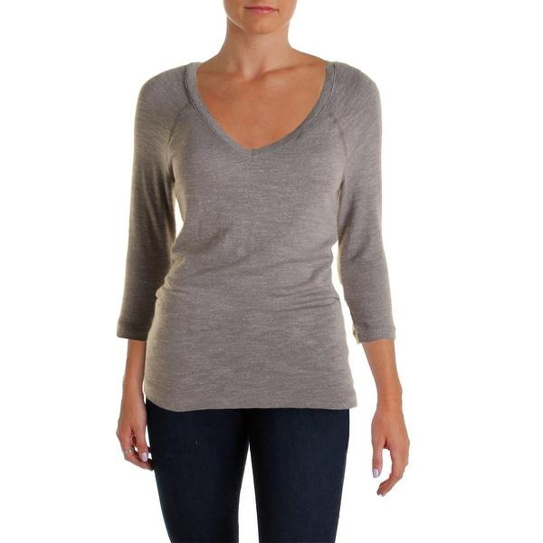 Three Dots Womens Pullover Top Slub Long Sleeves