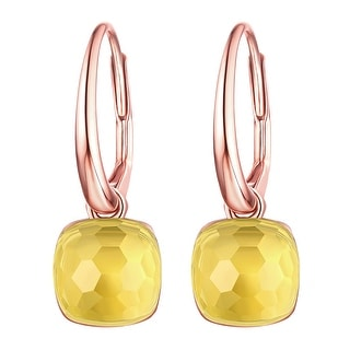 Vedantti Mini Honeycomb Cut Lemon Quartz Gemstone Pure Leverback Earring