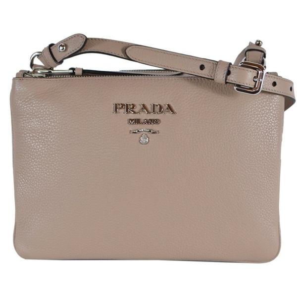 be654ef2be50aa Prada 1BH046 Cammeo Vitello Leather Bandoliera Double Zip Crossbody Bag -  Beige