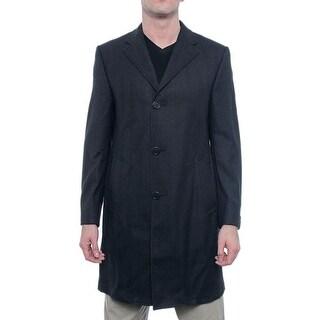 Hickey Freeman Men Classic Overcoat Basic Coat Black