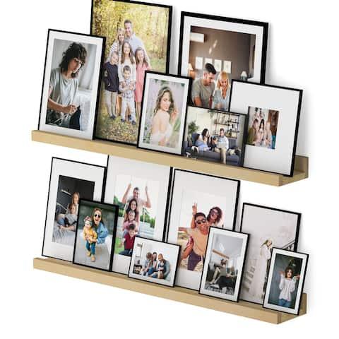 Wallniture Denver Natural Floating Shelves Picture Ledge Vinyl Display Bookshelf (Set of 2)