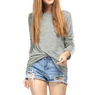 Unique Bargains Women's Round Neck Lace Panel Long Sleeves T-Shirt - gray