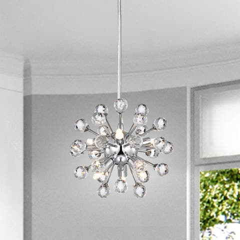 Clara Mini Pendant Modern 6-light Chrome Sputnik Clear Crystal Balls Chandelier