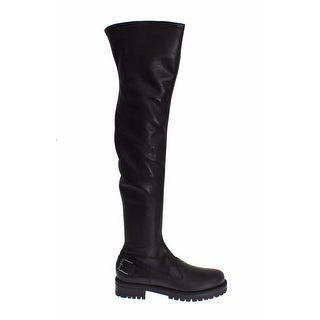 Dolce & Gabbana Black Leather Boots Knee High Shoes - 40.5