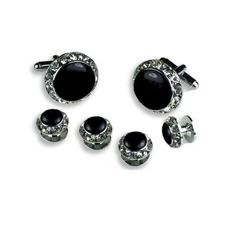Crystal Formal Tuxedo Cufflinks and Studs Set in Silver