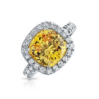 Bling Jewelry .925 Silver 3ct Yellow CZ Cushion Cut Engagement Ring