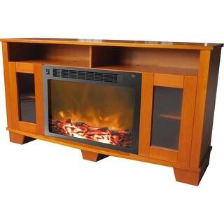 Cambridge Savona CAM6022-1TEK Fireplace Mantel with Electronic Fireplace Insert, Teak