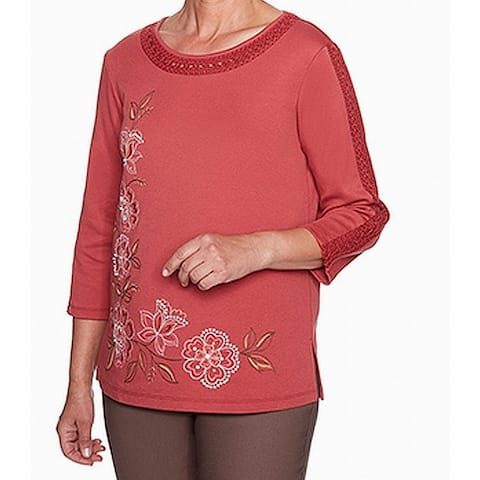 Alfred Dunner Women's Knit Top Orange Size 2X Plus Embellished Lace