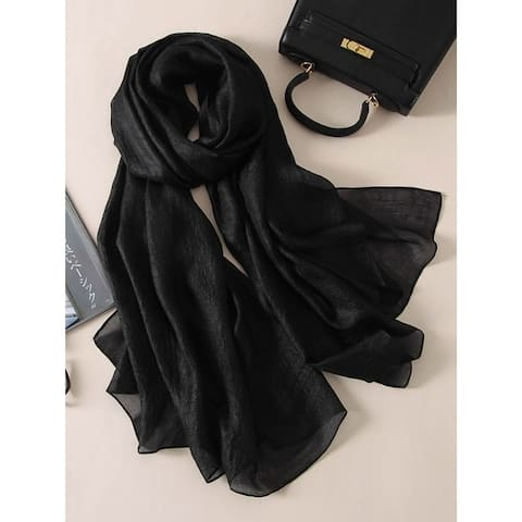 Casual Solid Color Keep Warm Sun Protection Silk Shawl&Scarf - FREE SIZE