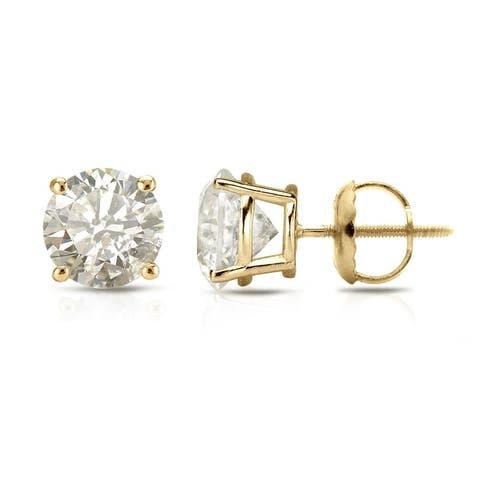 Auriya 18k Gold 1 1/2ct TW Clarity-enhanced Diamond Stud Earrings