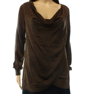 INC NEW Brown Bronze Women's Size Large L Cowl Neck Shimmer Sweater