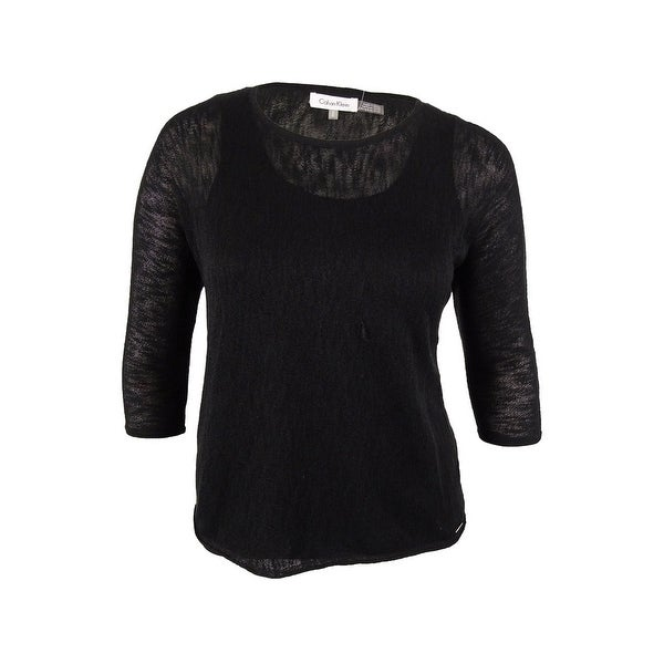 Shop Calvin Klein Women s 3 4 Sleeves Layered Sweater - Black - m ... 4363a27c37