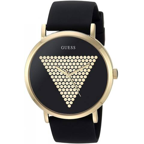 Guess Men's W1161G1 Imprint Gold-Tone Watch With Black Silicone Strap - 1 Size