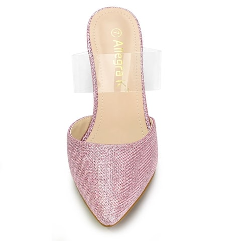 Women's Point Toe Glitter Clear Block Heel Mules