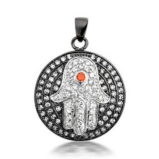 Black Red CZ Pave Evil Eye Hamsa Pendant Necklace For Women For Teen
