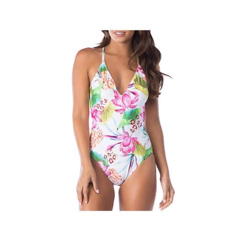 La Blanca Womens Bora Bora Floral Print Racerback One-Piece Swimsuit