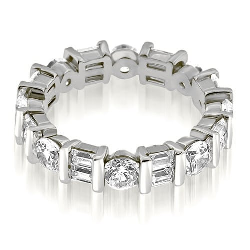 2.25 cttw. 14K White Gold Modern Bar Set Round Baguette Diamond Eternity Ring