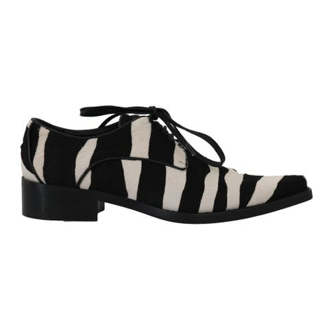 Dolce & Gabbana Black White Zebra Pony Hair Women's Oxfords