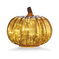 """Mercury Glass 5.5"""" Battery Operated LED Pumpkin Lights with Timer, Good for Holiday Decoration(Gold)"""