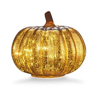 "Mercury Glass 5.5"" Battery Operated LED Pumpkin Lights with Timer, Good for Holiday Decoration(Gold)"