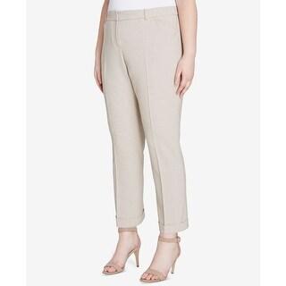 Tahari Womens Plus Cuffed Flat-Front Dress Pants