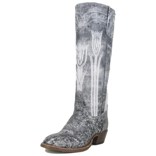 Macie Bean Western Boots Womens Cowboy Tall Flower Petal Gray