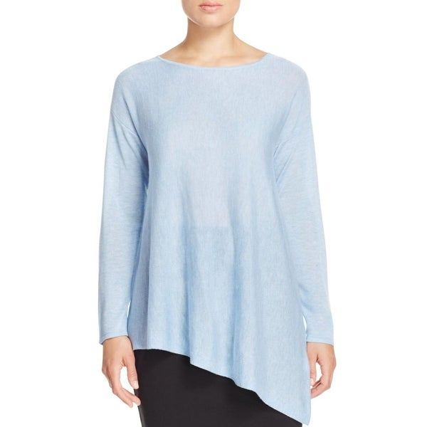 a29b4dd9e9e Eileen Fisher Womens Pullover Sweater Wool Tencel Blend Asymmetric