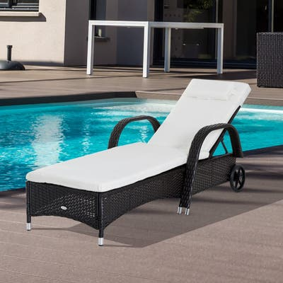 Outsunny Outdoor Rattan Wicker Chaise Lounge Chair with Height Adjustable Backrest & Durable Material, Dark Coffee