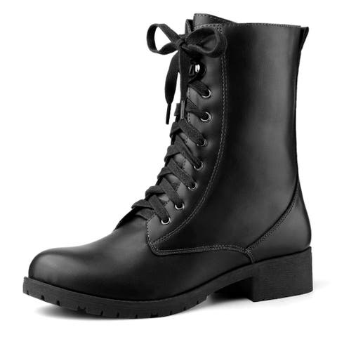 Women's Round Toe Zip Lace Up Mid Calf Combat Boots