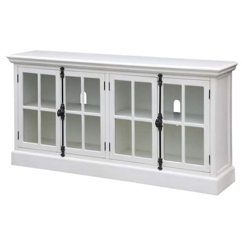 "Coventry White Oak Finish 4 Door Media Console - 72""W x 17""D x 36""H"