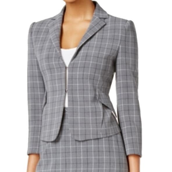 e191c8d7a Shop Tommy Hilfiger NEW Gray Womens Size 2 Notched-Lapel Plaid Blazer - Free  Shipping Today - Overstock - 18311994