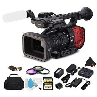 Panasonic AG-DVX200 4K Camcorder with Four Thirds Sensor and Integrated Zoom Lens + Sony 64GB Memory Card + Case Kit Bundle