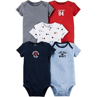 Carter's Baby Boys' 5 Multi-Pack Bodysuits Tiny But Mighty 12 Months