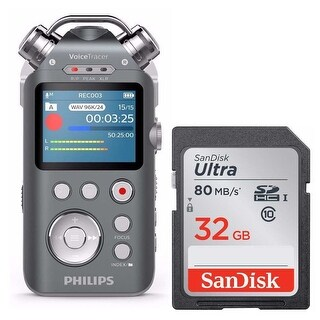 Philips VoiceTracer DVT7500 Portable Audio Recorder and 32GB Micro SD Card