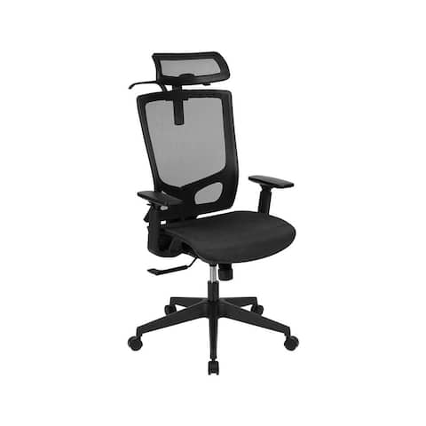 Offex Ergonomic Mesh Office Chair with Synchro-Tilt, Pivot Adjustable Headrest, Lumbar Support and Adjustable Arms - Black