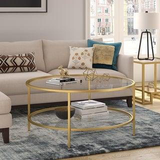 Orwell coffee table in gold with glass shelf
