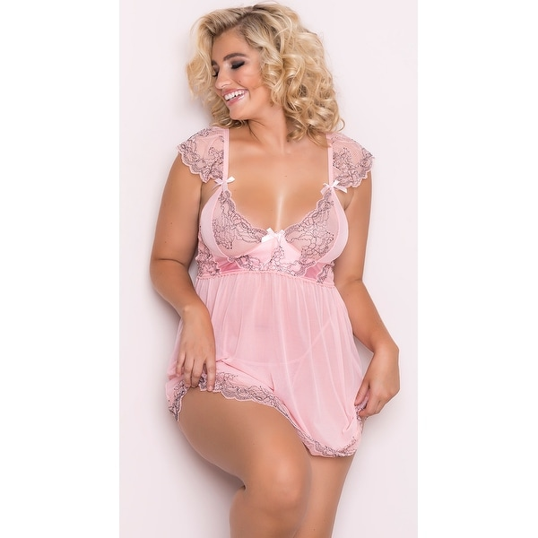 2ace55945c6 Shop Plus Size Dainty Pink Mesh And Lace Babydoll Set