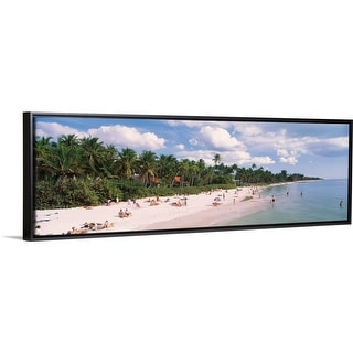 """Tourists on the beach, Naples, Gulf of Mexico, Florida"" Black Float Frame Canvas Art"