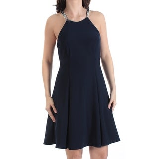 Womens Navy Above The Knee Fit + Flare Prom Dress Size: 6