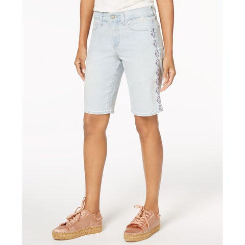 NYDJ Blue Women 14 Embroidered Briella Tummy Control Denim Skirt