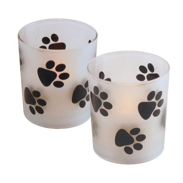 """Set of 2 White LED Flameless Candle with Paw Print Glass Candle Holders 4"""" - N/A"""