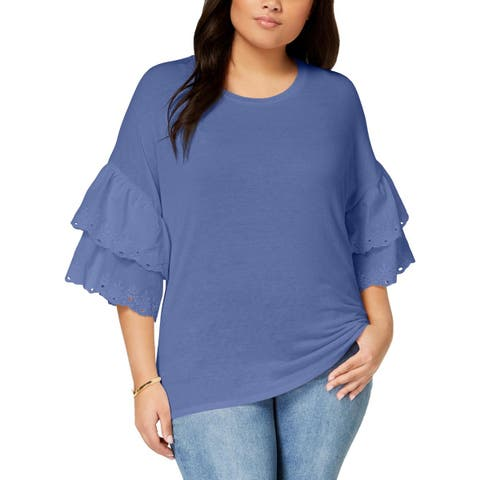Eyeshadow Womens Plus Pullover Top Embroidered Ruffled