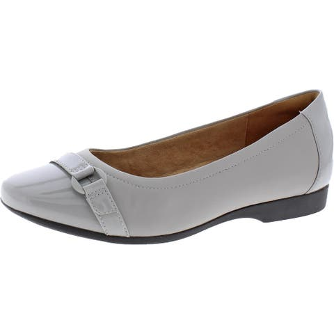 Unstructured by Clarks Womens Un Darcey Go Loafers Leather Slip On - Light Grey Leather Combination