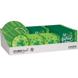 """Club Pack of 72 Green and White Shamrock Plaid Pattern Counter Display 24"""""""