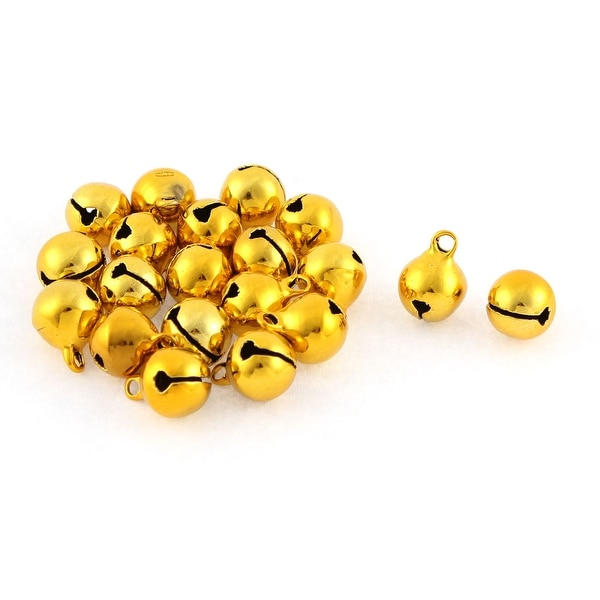 Christmas Tree Party Ornament Metal 10mm Ring Jingle Bells Gold Tone 20 Pcs