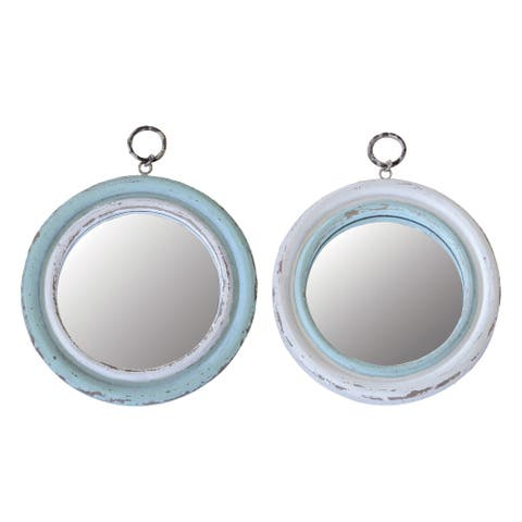 Blue & White Wood Framed Round Mirrors (Set of 2 Styles) - Cream and Teal