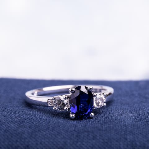 10k White Gold Created Blue and White Sapphire Diamond Ring by Miadora