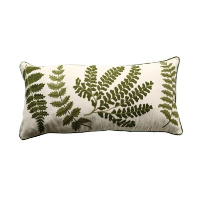 White Rectangle Cotton Pillow with Embroidered Green Ferns