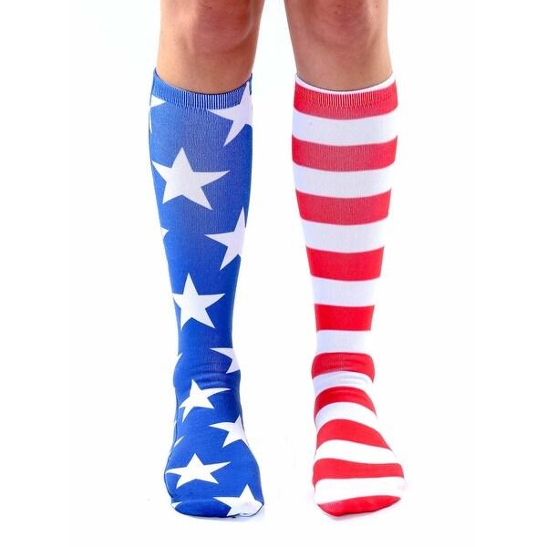 Unisex Stars & Stripes Knee High Socks - Red